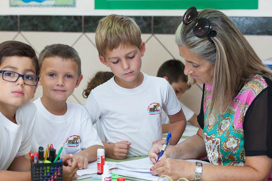 Alumnos de primaria con la profesora