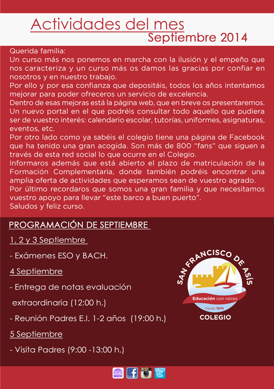 Boletín informativo de septiembre