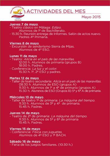 Boletín de actividades de mayo.