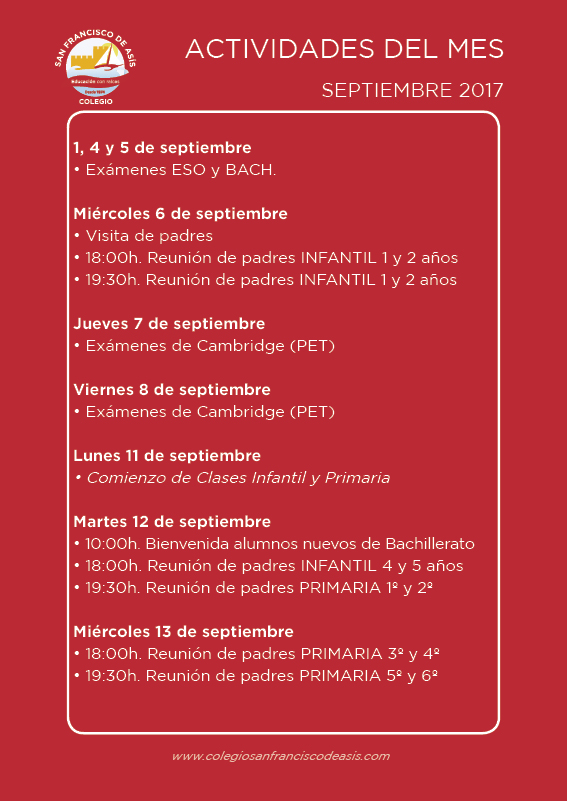 Boletín de actividades de septiembre