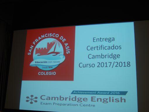 Entrega de Certificados Cambridge 2017 / 2018